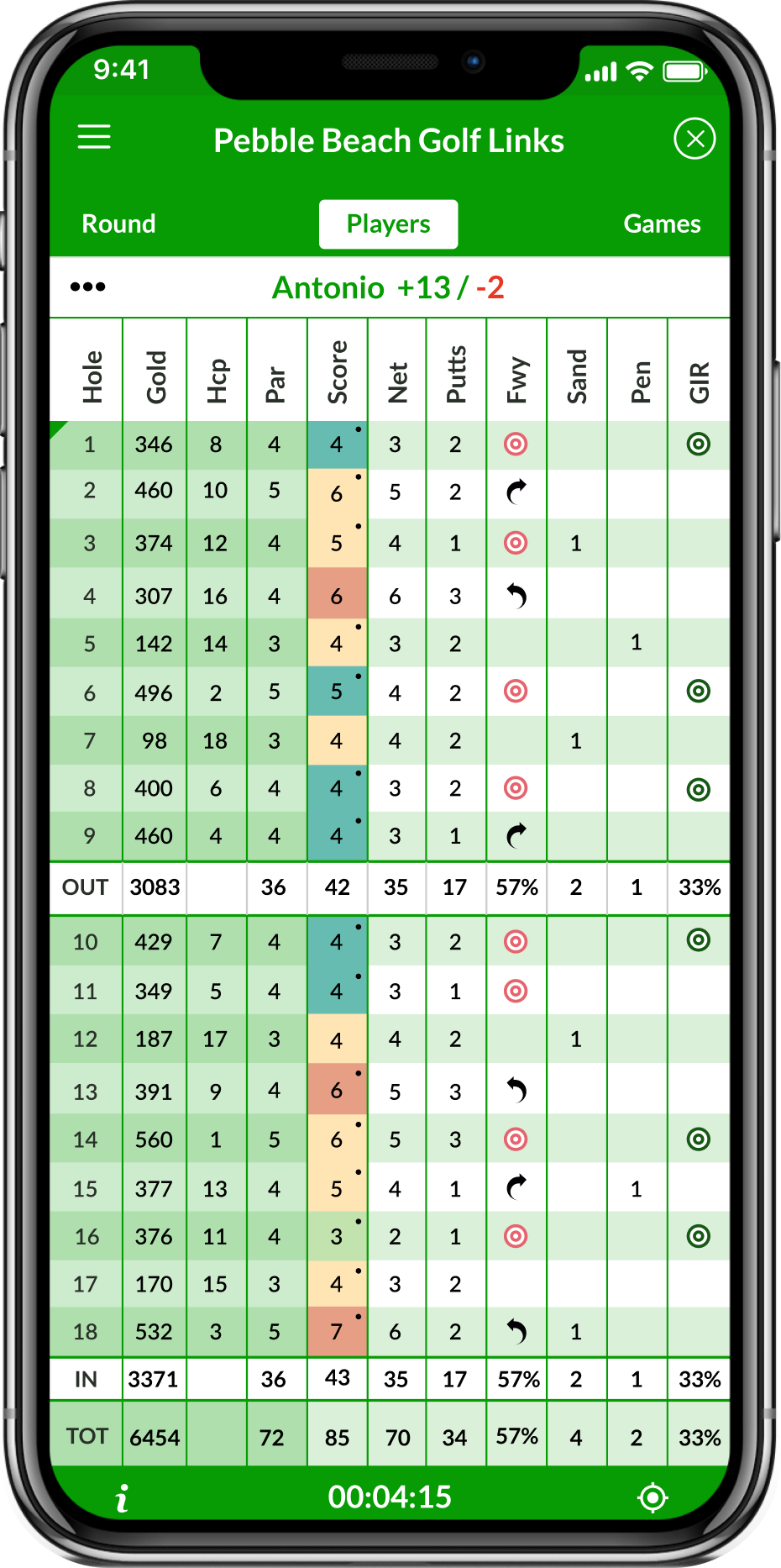 App screenshot showing the scorecard app screenshot in Beezer golf: The best golf scorecard app