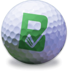 Golf ball with Beezer Golf logo placed besides the three golf app screenshots on the banner