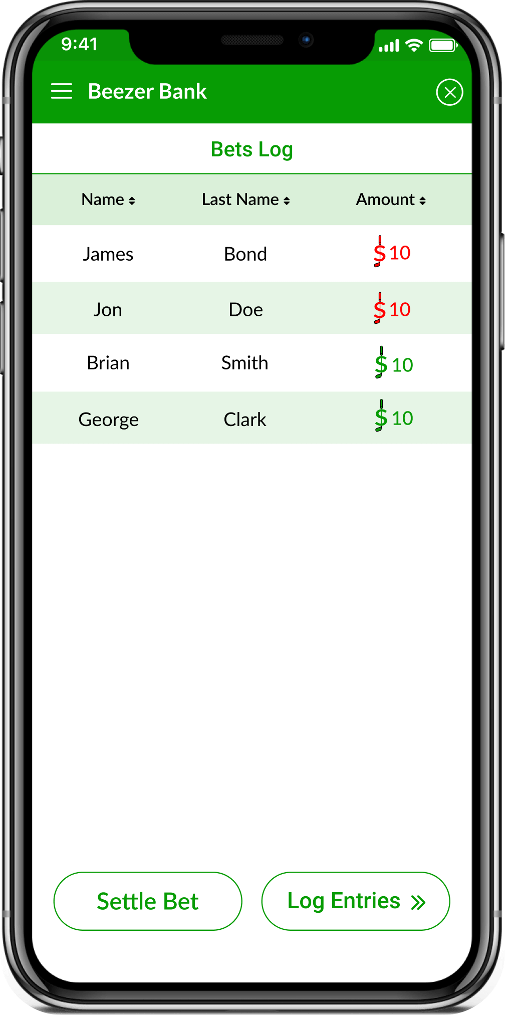 Golf Bets Tracking App screenshot showing the bets log