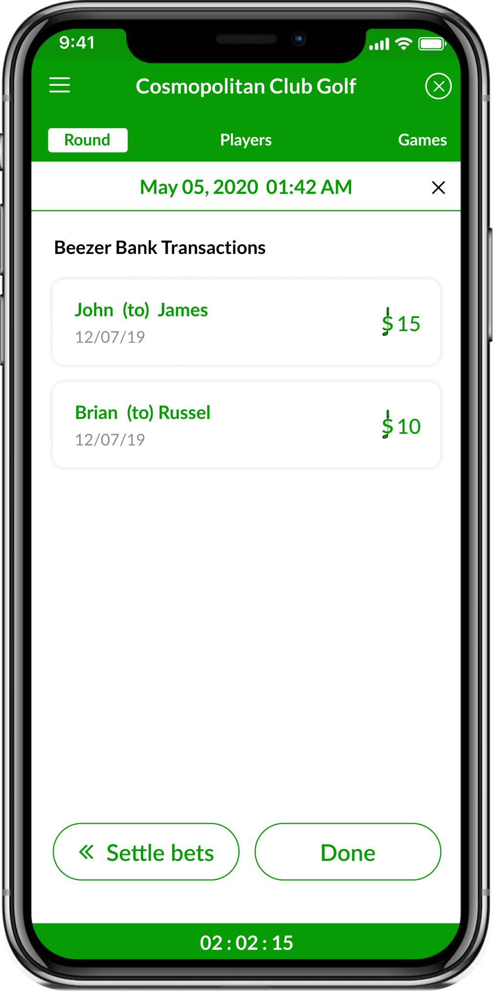 Golf Bets Tracking App screenshot showing the Round Bets