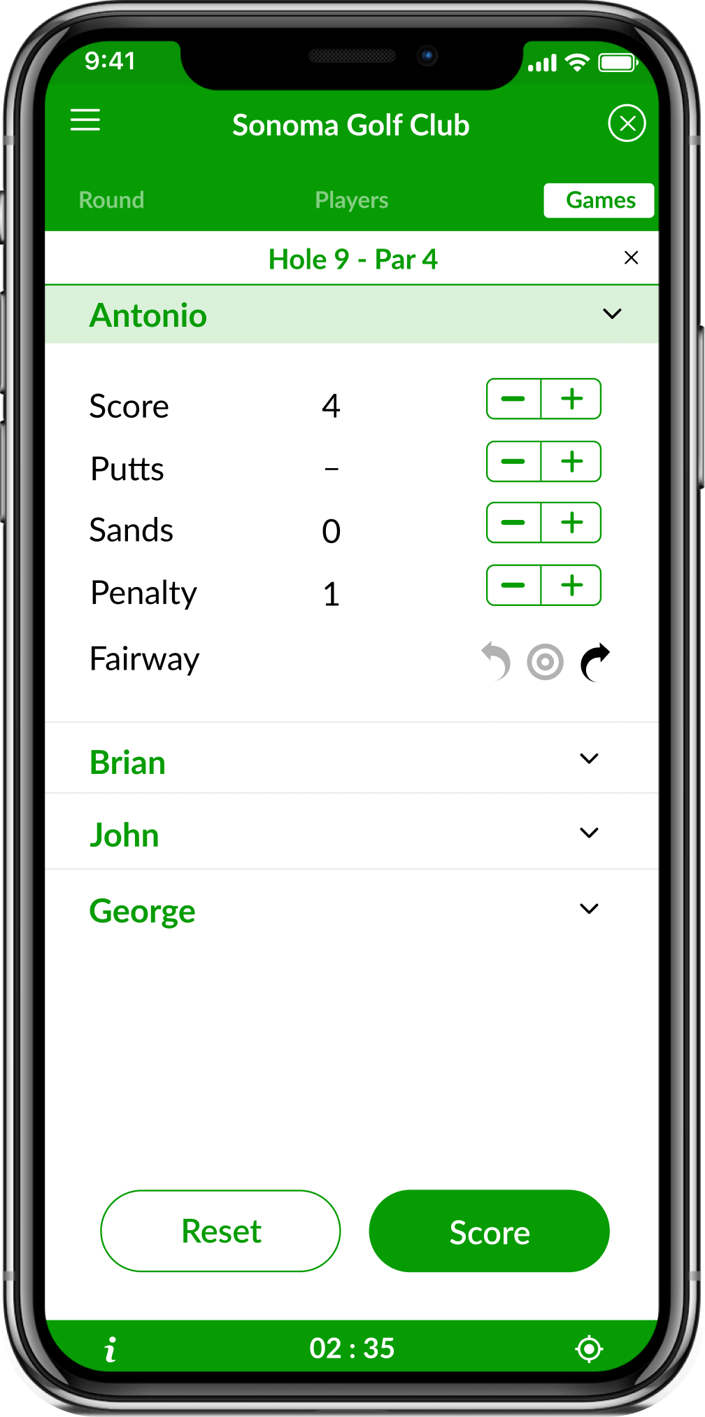 App screenshot showing the individual scores in golf scorecard