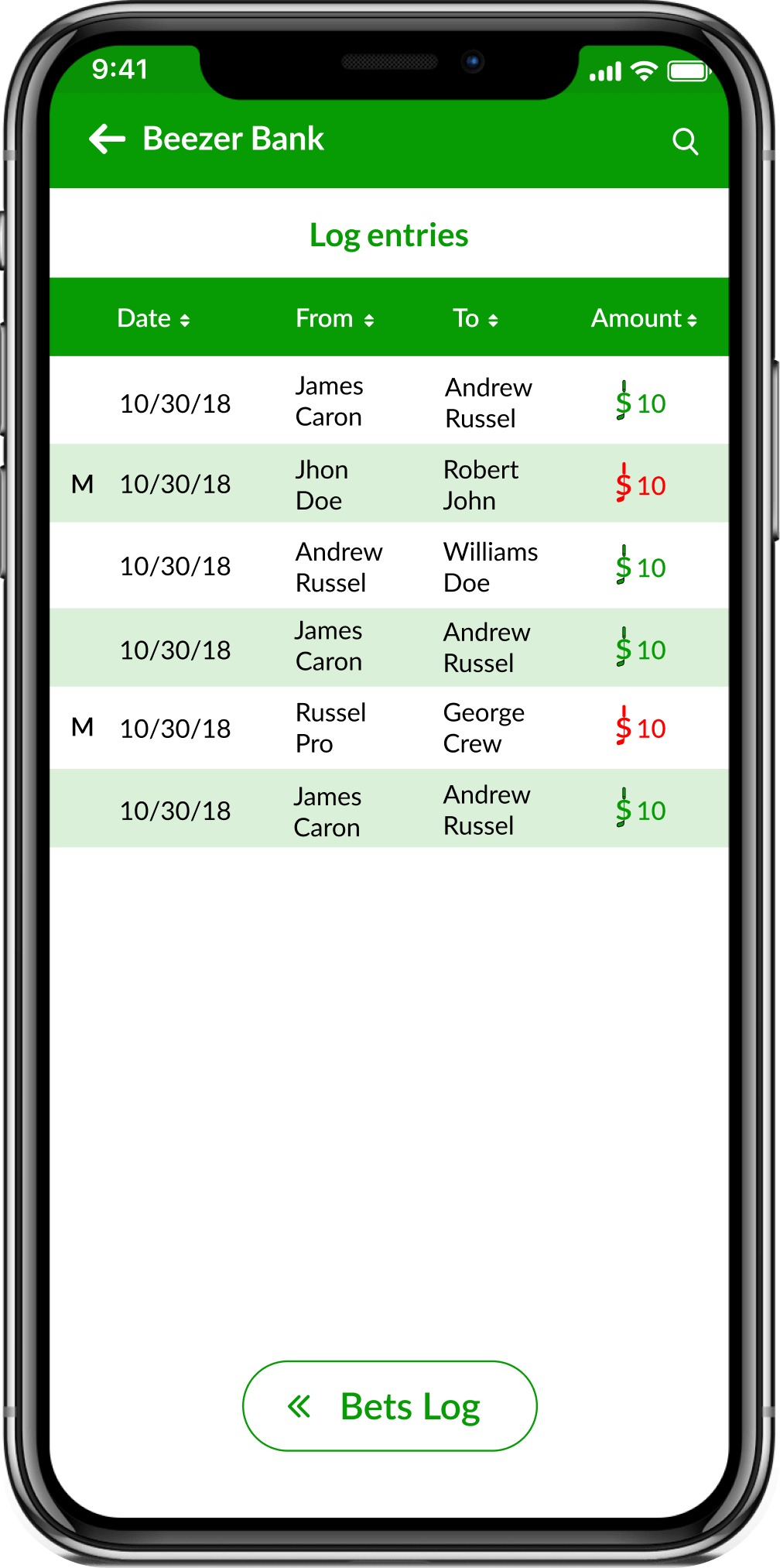 Golf Bets Tracking App screenshot showing the Bets Transactions