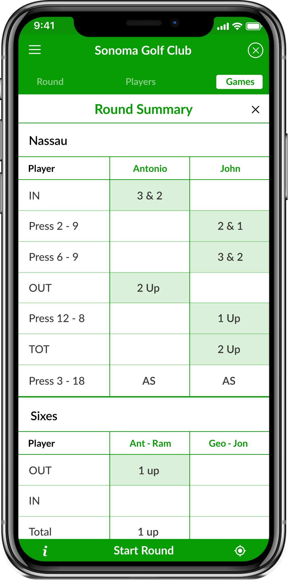 App screenshot showing the score leaderboard in golf scorecard